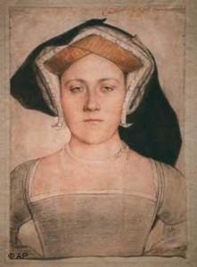 Nieznana dama dworu Tudorów autorstwa Hansa Holbein'a, szkic obecnie znajdujący się w Muzeum Sztuk Pięknych im. Puszkina w Moskwie.